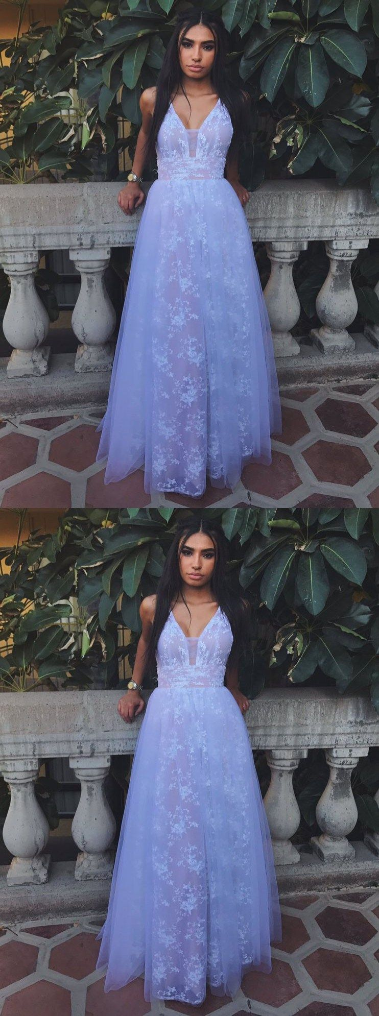 Aline vneck backless lavender tulle prom dress with lace modern