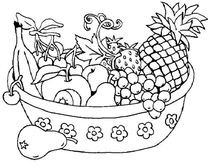 Assorted Fresh Fruit In The Basket Coloring Pages - Fruit Coloring ...