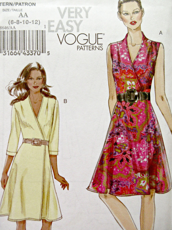 Vogue 8646 Sewing Pattern 2010 Dress Pattern Wrap Dress Etsy Wrap Dress Pattern Dress Pattern A Line Dress [ 3000 x 2250 Pixel ]