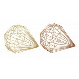 Attirant Wire Diamond Shaped Table Top Decor Set Of 2