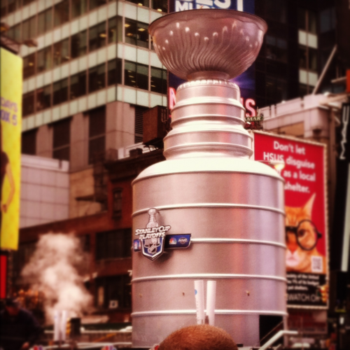 Stanley Cup fountain in Times Square #becauseitsthecup