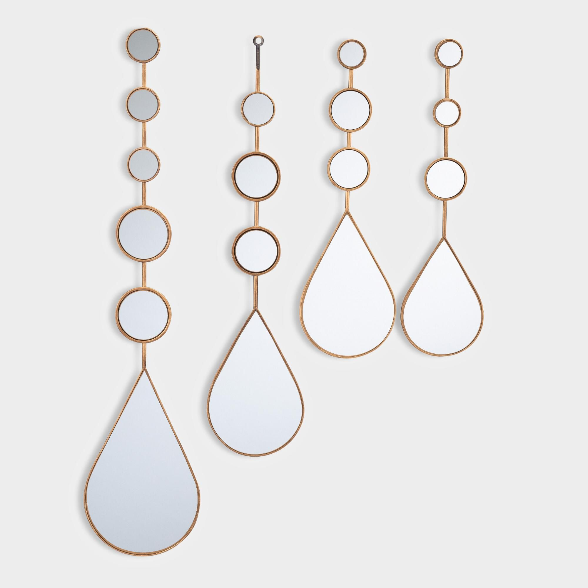 Gold Steel Teardrop Mirrors Set of 4   Unique picture ...