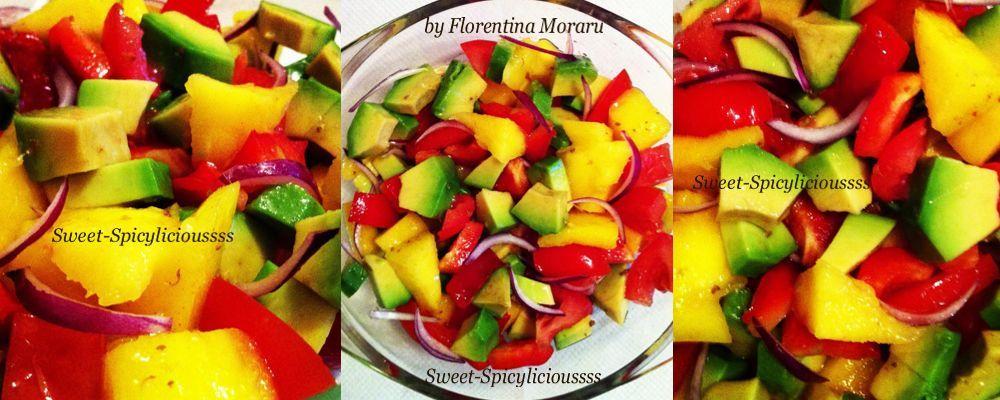 Salata raw vegana cu mango si avocado