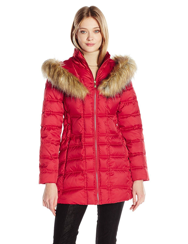 Betsey Johnson Women S 3 4 Puffer With Corset Side And Faux Fur Heart Hood This Is An Amazon Affi Fashion Clothes Women Coats Jackets Women Coats For Women [ 1500 x 1154 Pixel ]