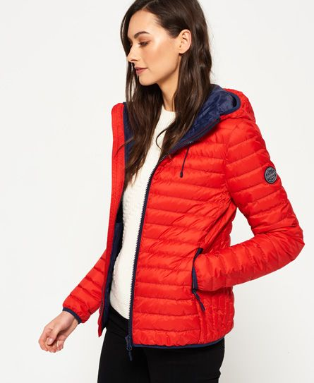 lowest price b4214 cd510 Superdry Core Down Hooded Jacket Red | Womens Clothes ...