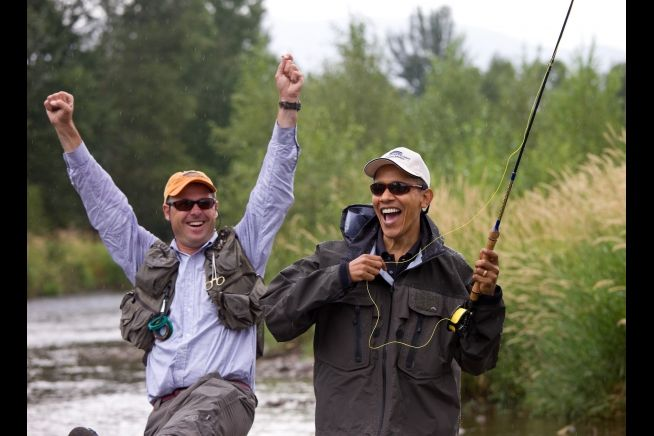 "Aug. 14, 2009 ""Fly fishing in Montana, the President and his guide react after both thought he had hooked a fish; unfortunately, he hadn't. Later the President joked that it was 'catch and release.'"""