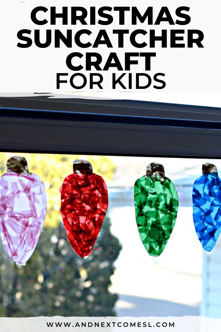 Christmas Craft Idea for Kids: Make Giant Christmas Light Suncatchers! #christmascraftsforkidstomake