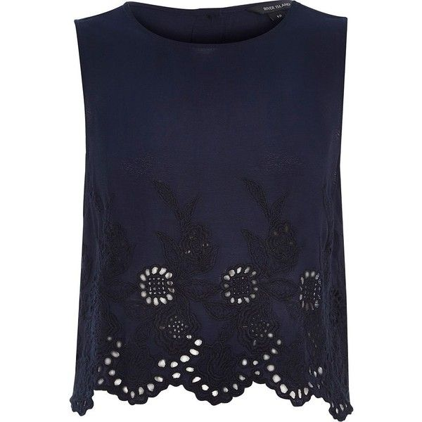 River Island Navy crepe embroidered hem tank top (13.350 CLP) ❤ liked on Polyvore featuring tops, shirts, tank tops, tanks, blue, sale, navy blue tank, sleeveless button down shirt, blue tank top and summer shirts