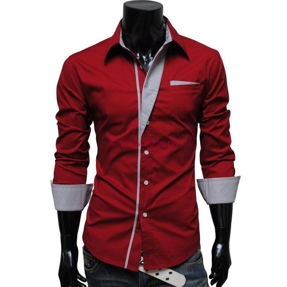 2015 New Fashion Stripe Men Shirts Long Sleeve Cotton Slim Fit French Cuff  Casual Male Social Dress Shirt Clothes-in Casual