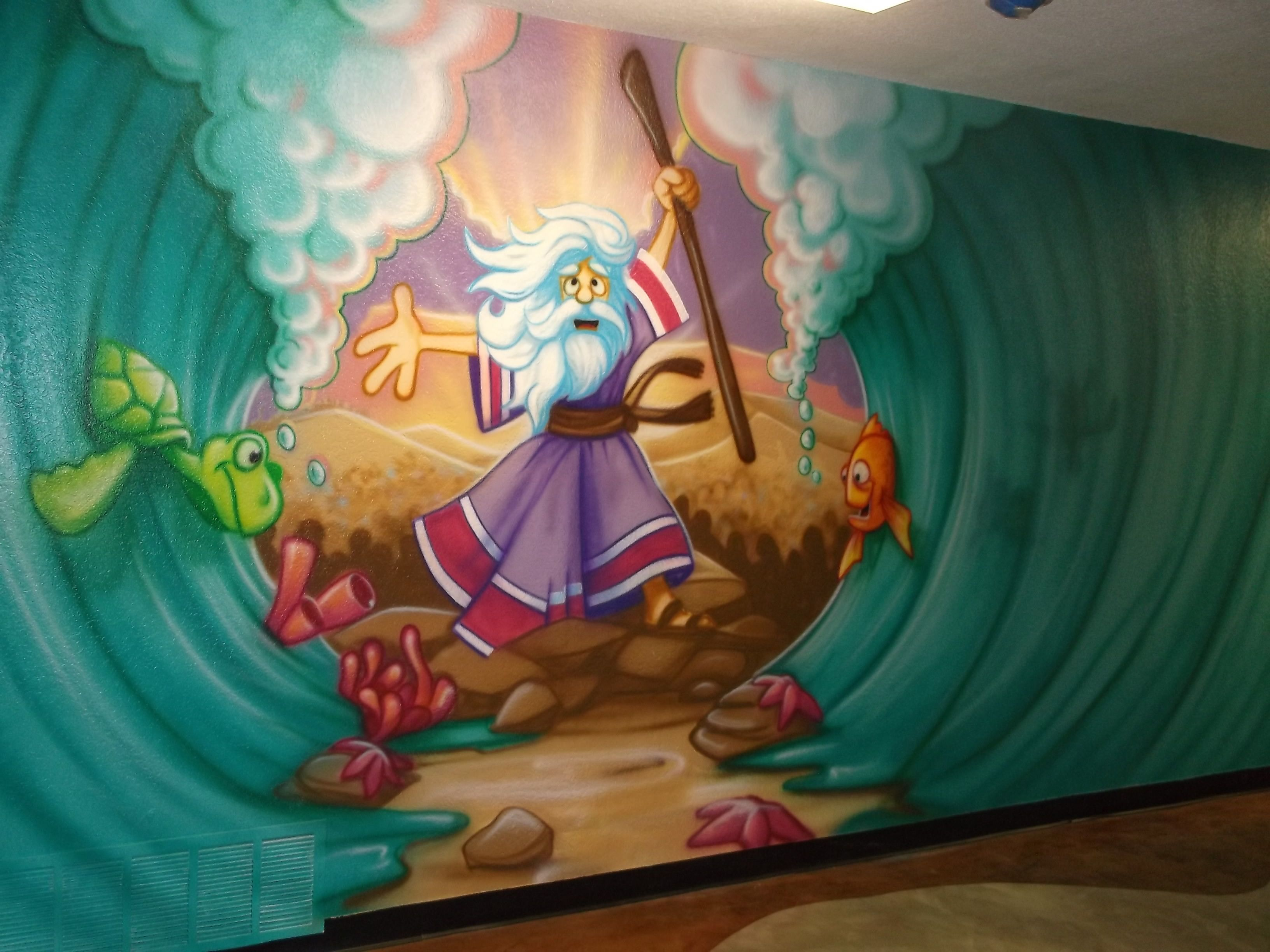 Wall murals bible stories google search fbc children for Airbrushed mural