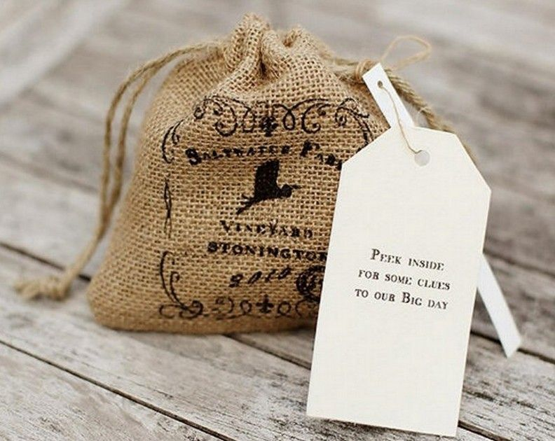 French Rustic Chic Invitations And Burlap Pouch Save The Dates