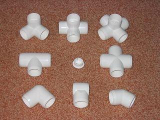 PVC PIPE FITTINGSu003du003du003du003du003du003du003dFamily Gathering of Furniture Grade PVC Fittings. End Cap is in the Middle. Slip Tee Lower Middle. Notice How the Ends are Beveled ... & PVC PIPE FITTINGSu003du003du003du003du003du003du003dFamily Gathering of Furniture Grade PVC ...