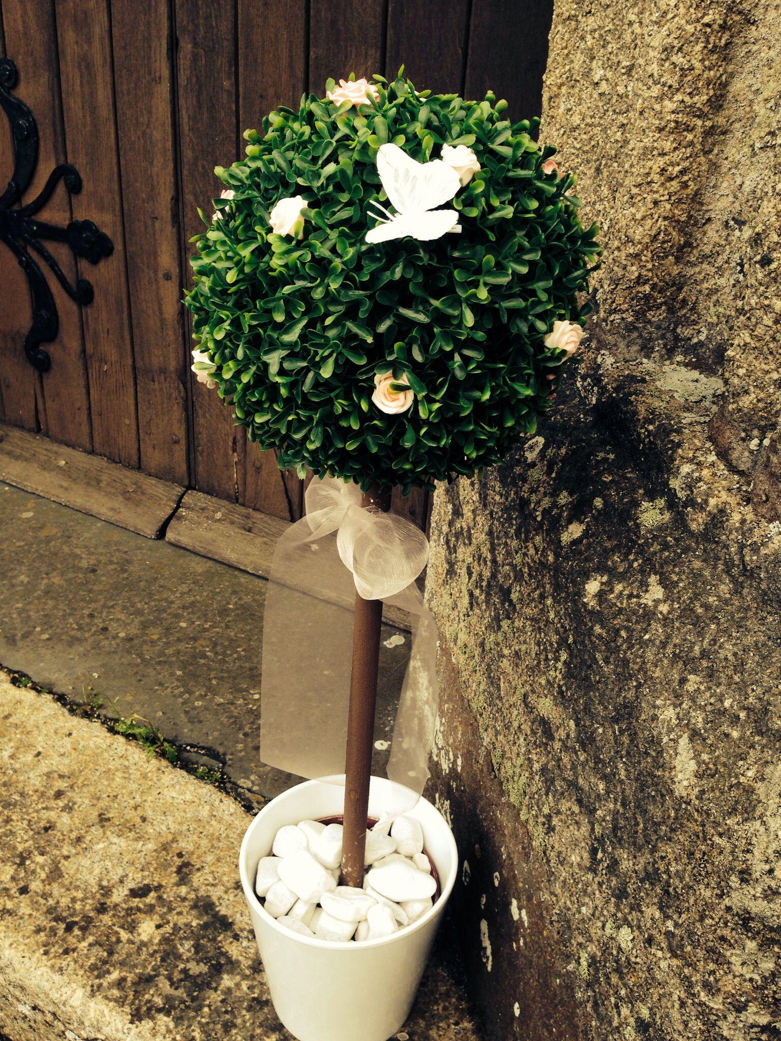 Topiary Tree Weddings Pink Roses Erfly