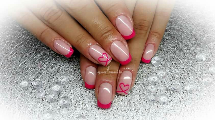 Pink french with hearts