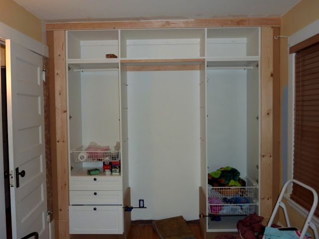 ikea hackers kidu0027s builtin wardrobe closet base out of 2x4 lumber placed