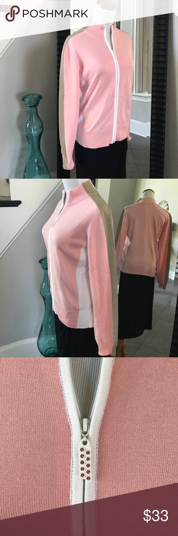 Sport Haley Pink/Wht/Tan zip sweater | Tan tuxedo, Zip sweater and ...