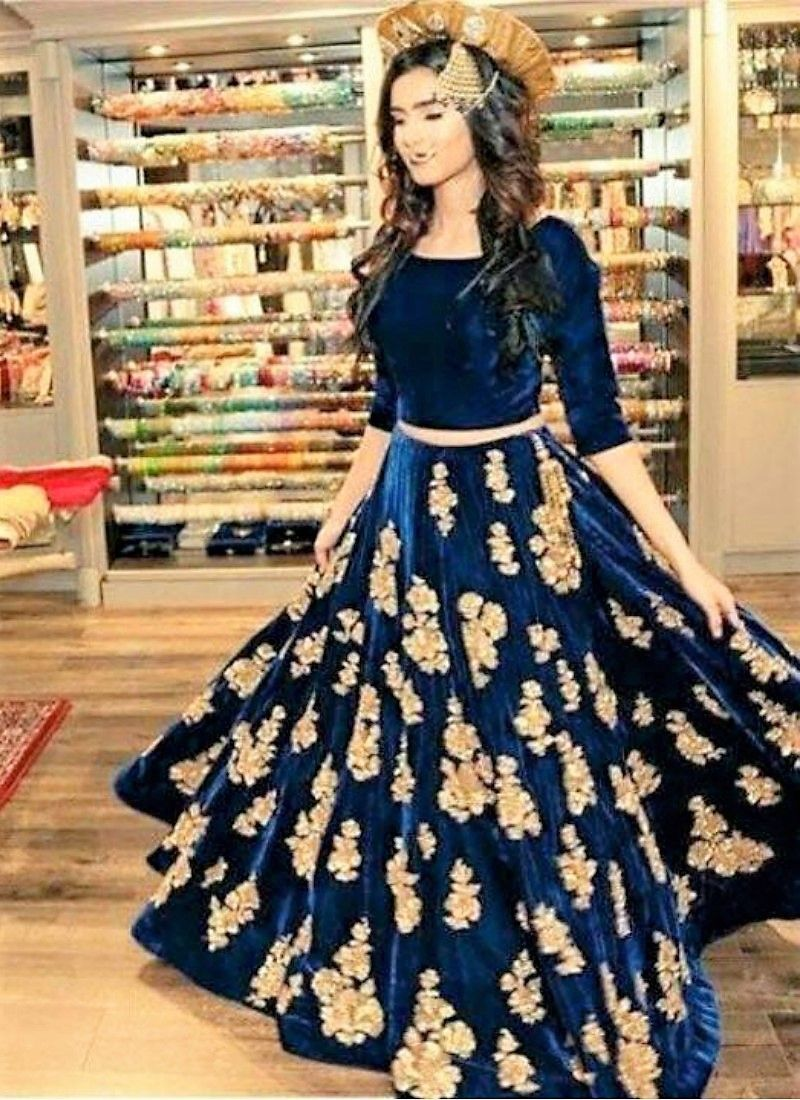 Velvet Embroidered Crop Top And Skirt Lehengas