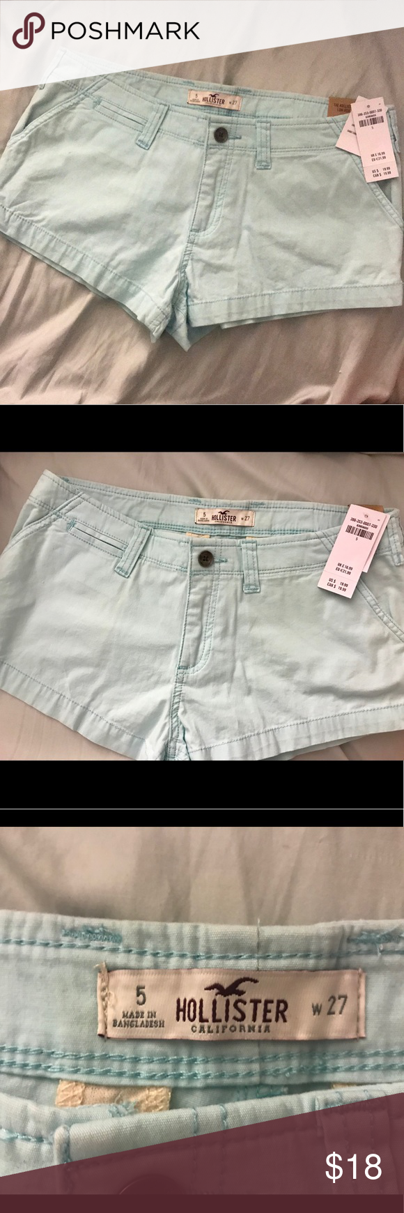 Hollister low rise light blue shorts Brand New w/ tags Hollister light blue/aqua low rise shorts!