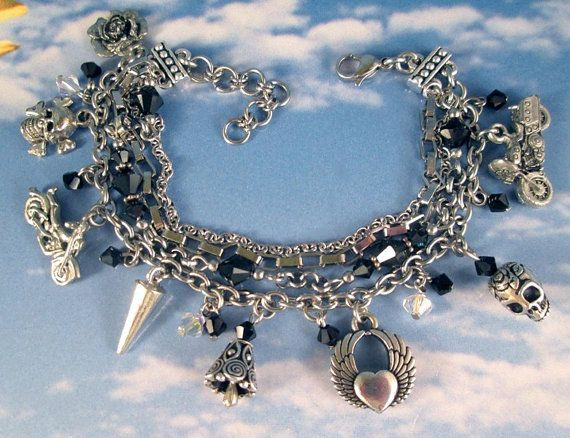 Motorcycles, Skulls and Riding Bell Silver Deluxe Charm Bracelet Stainless Steel with Swarovski Crystals on Etsy, $58.00