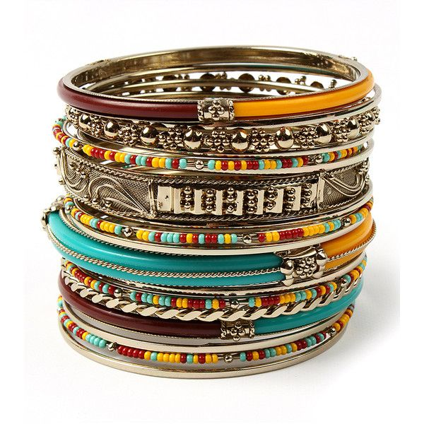 Amrita Singh Jewel-Tone & Goldtone Eze Bangle Set (22 AUD) ❤ liked on Polyvore featuring jewelry, bracelets, bohemian jewelry, bangle bracelet, boho chic jewelry, amrita singh bangles and bangle set