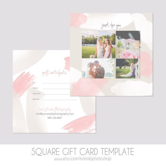 Square Gift Certificate Template 5x5 Photography by MariaBPaints - cute gift certificate template