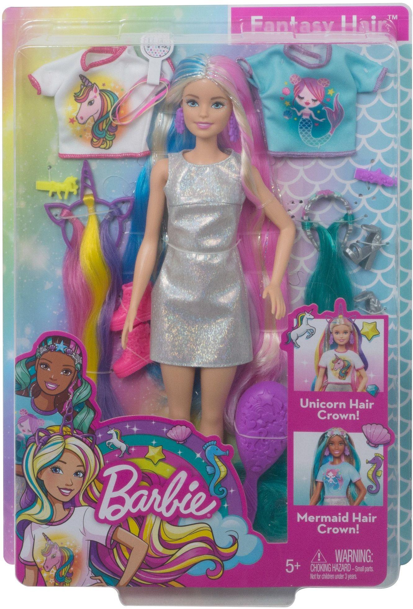 Barbie Fantasy Hair Doll With Mermaid Unicorn Looks Walmart Com In 2020 Dress Barbie Doll Mermaid Barbie Fantasy Hair