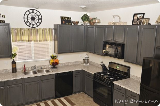 Navy Bean Lane Gray Kitchen Cabinets Before After Kitchen Cabinets With Black Appliances Black Appliances Kitchen Grey Kitchen Cabinets