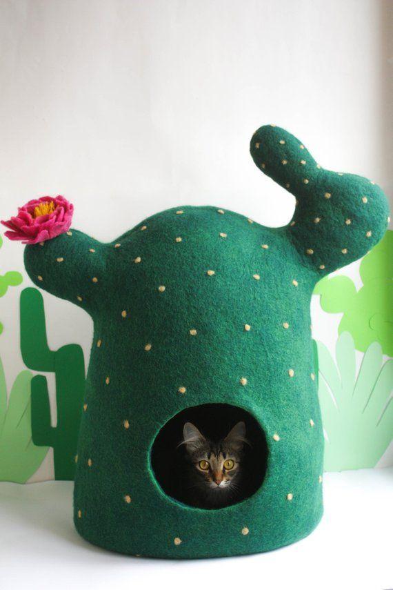 Photo of Cama para gatos, cueva para gatos, casa para gatos Cactus, cama para mascotas con fieltro, regalo para mascotas, muebles para mascotas de lana natural ecológica, decoración para el hogar de plantas
