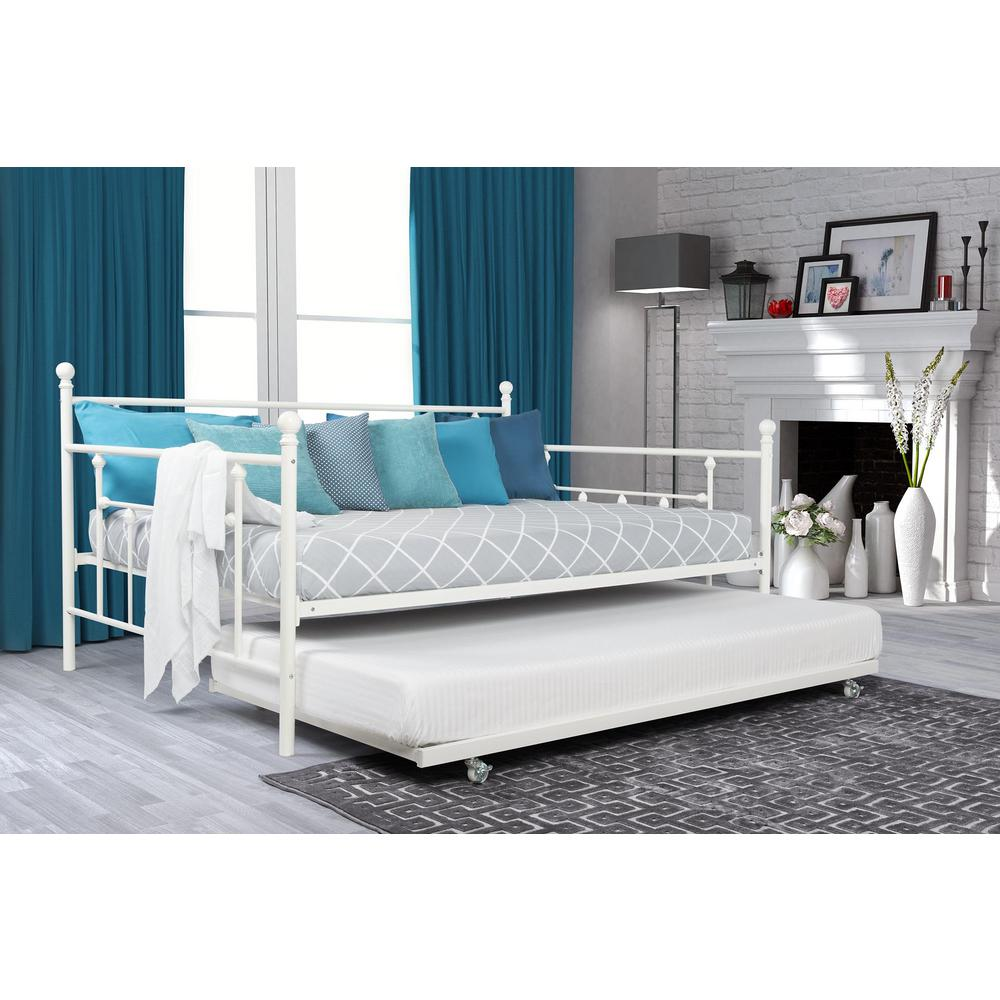 Manila White Trundle Day Bed Bedroom Metal Daybed
