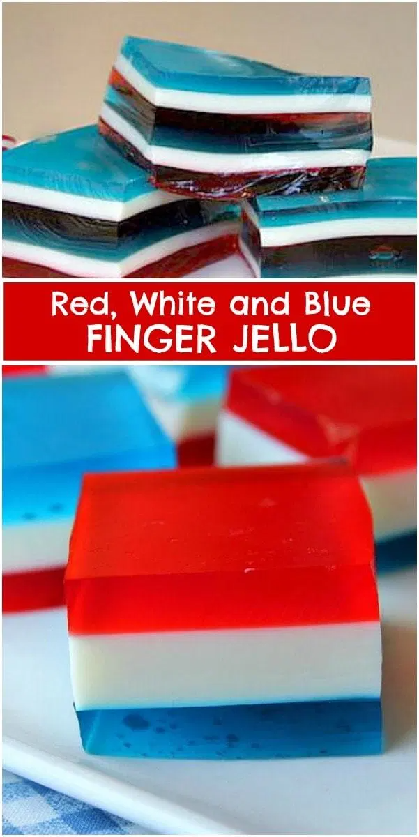 Red, White and Blue Finger Jello recipe from RecipeGirl.com #red #white #and #blue #redwhiteandblue #finger #jello #recipe #RecipeGirl #summer #4thofjuly #fourthofjuly #patriotic #party #parties