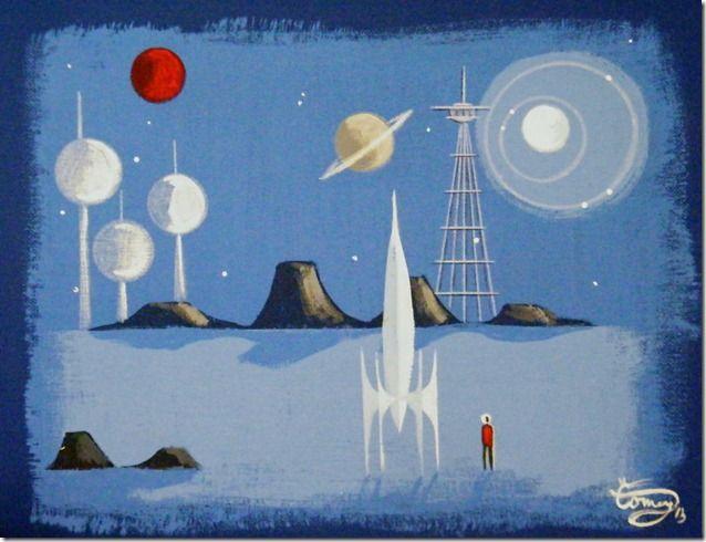 El Gato Gomez Painting Mid Century Modern Rocket Ship - No Pattern Required