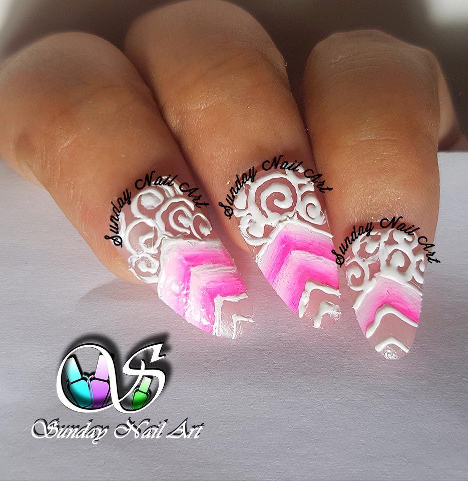BEAUTY OF PINKK 😍 Nail Art by Sunday Nail Art. One stroke nail art ...