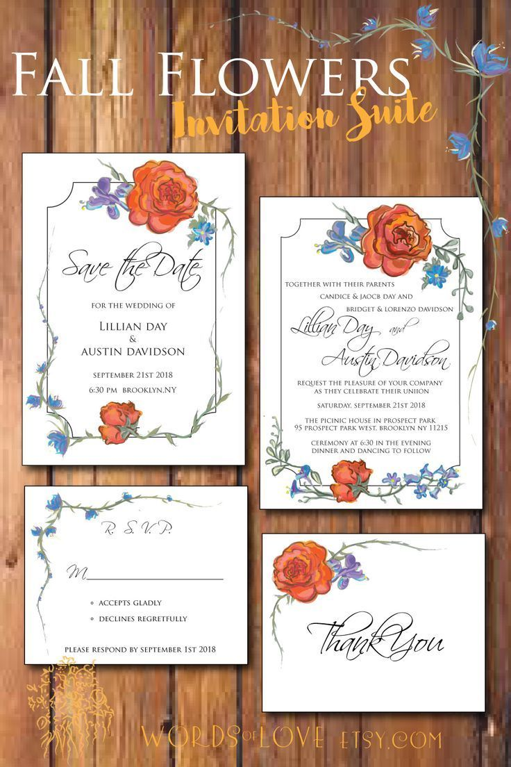 This is the fall flowers wedding invitation suite by words of love