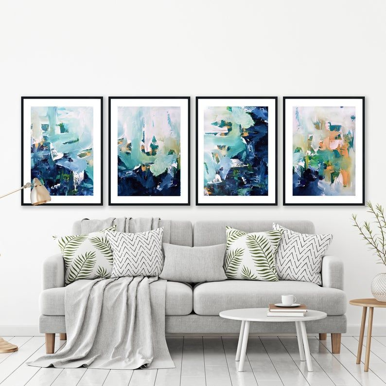 New Set Of 4 Framed Prints Bright Abstract Wall Art Large Etsy Large Abstract Wall Art Large Art Prints Modern Abstract Print