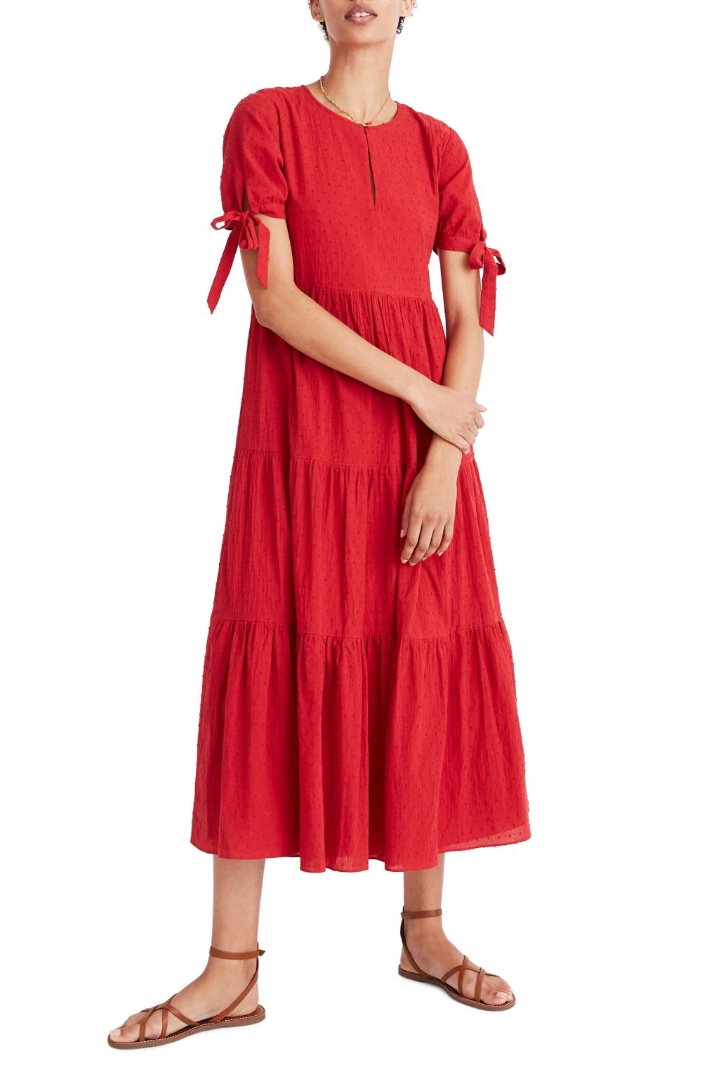 Madewell Tie Sleeve Tiered Swiss Dot Midi Dress Nordstrom Red Dress Sleeves Tie Sleeve Dress Midi Dress [ 1533 x 1000 Pixel ]