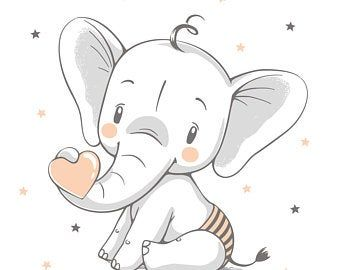 Reproduction Cute Elephant With Balloon Etsy Cute Elephant Cartoon Baby Elephant Drawing Baby Elephant Cartoon