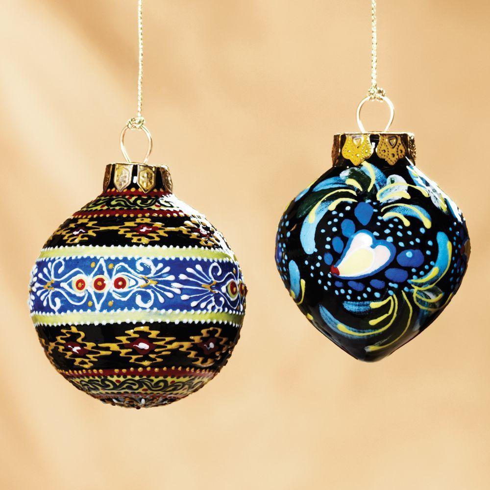 Uzbek Ceramic Hand Painted Ornaments Set Of 2 National Geographic Store Artisans In Uzbekistan Cre Hand Painted Ornaments Painted Ornaments Uzbek Ceramics