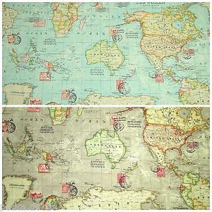 World map atlas fabric 100 cotton linen look blue or taupe world map atlas fabric 100 cotton linen look blue or taupe colourway 135cm wide gumiabroncs Images