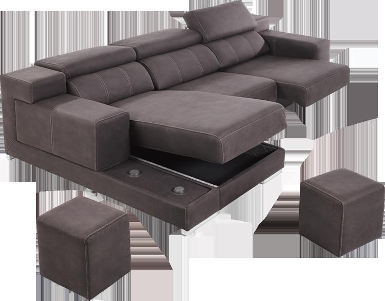 Sof chaise longue de pell amb cofre de disseny Sofá chaise