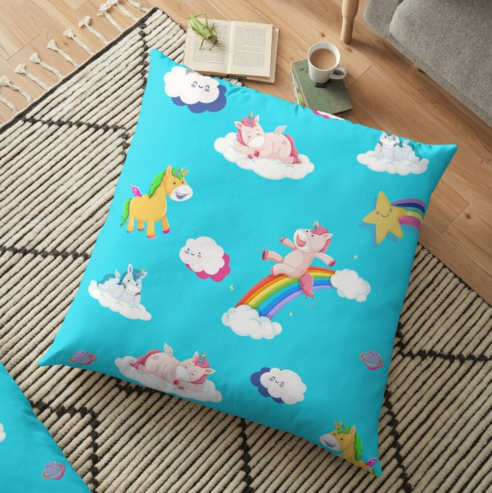 Unicorns Stories | Cute & Funny Cartoonize Unicorn, Colorful Rainbow Happy Clouds Stars Floor Pillow