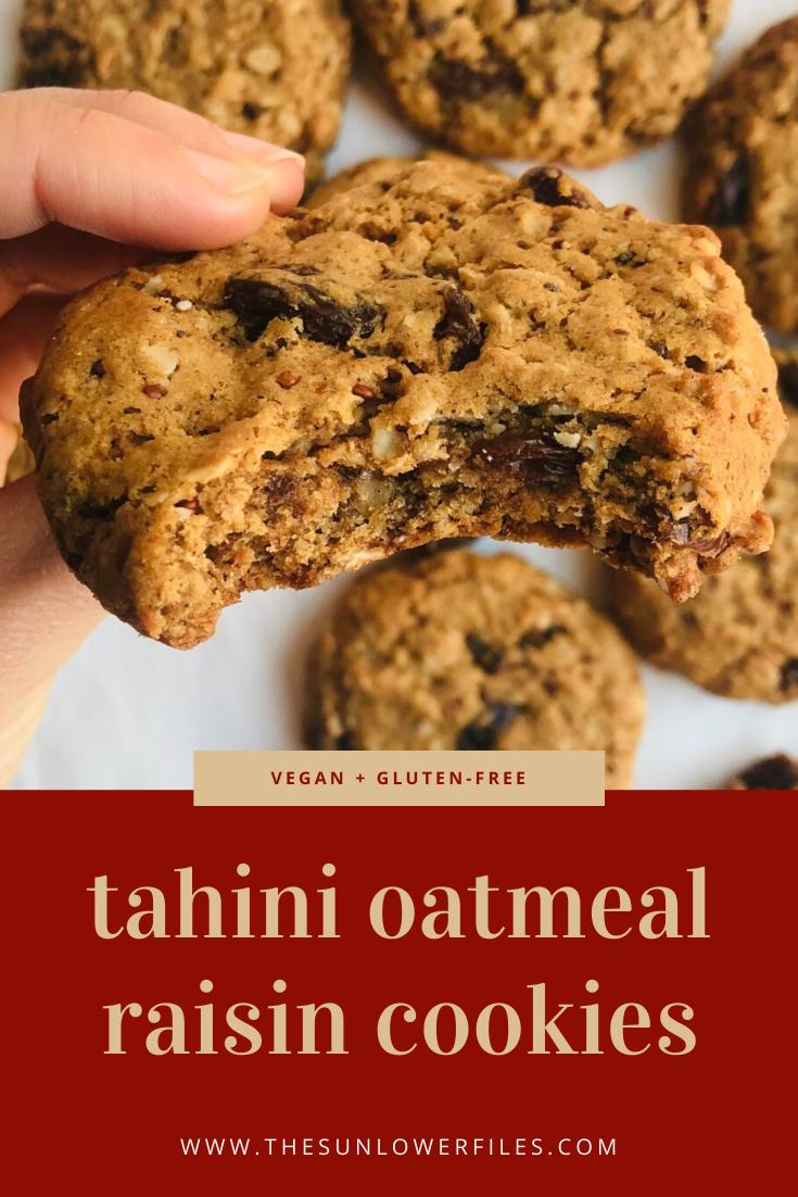 Tahini Oatmeal Raisin Cookies Recipe In 2020 Oatmeal Raisin Cookies Oatmeal Raisin Vegan Cookies