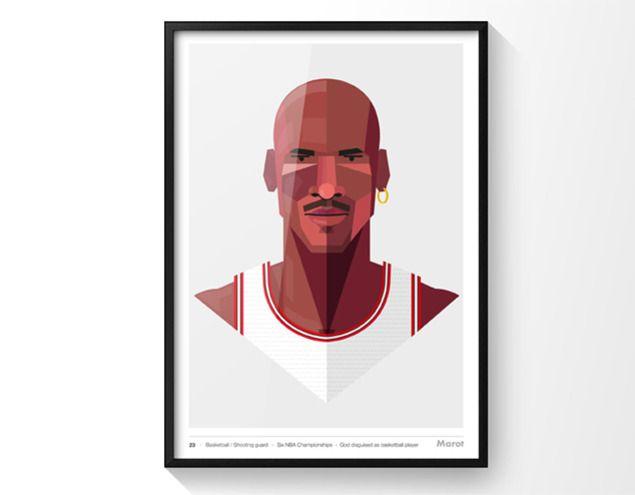 Ilustración de Michael Jordan de 40x50 con marco | MHOP/OUR PRODUCTS ...