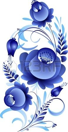 disegno floreale su uno sfondo bianco in stile russo Archivio Fotografico 3c834ea9f656