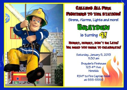 Fireman Sam Digital Birthday Invitation YOU PRINT – Fireman Sam Birthday Cards