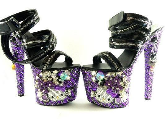 9a3ab3285 I would really wear these everywhere !!! Sexy 3D Shoe Bling Platform, Hello  Kitty.