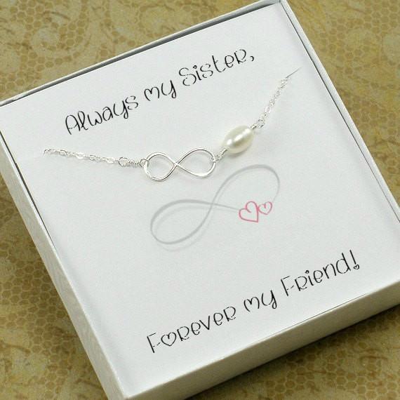 Sister Gift Infinity Pearl Bracelet Sterling Silver