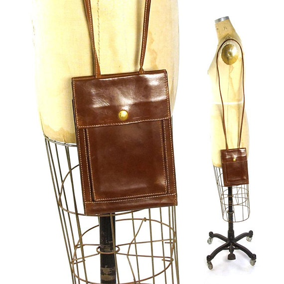 a748396e7979 90s Wallet Organizer Purse in Brown Leather Small Casual Bag with Long  Crossbody Shoulder Strap   Lo