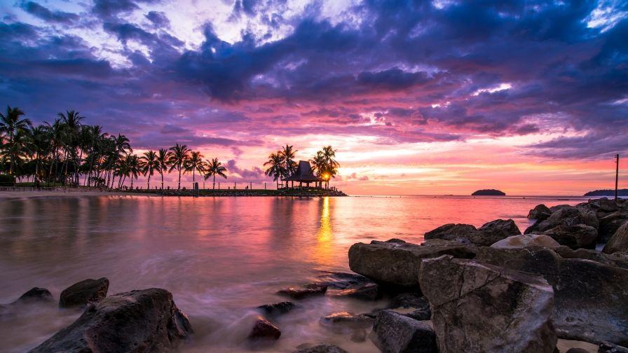 خلفيات Hd للكمبيوتر 2020 Sunset Wallpaper Sunset Landscape Art Beach Wallpaper