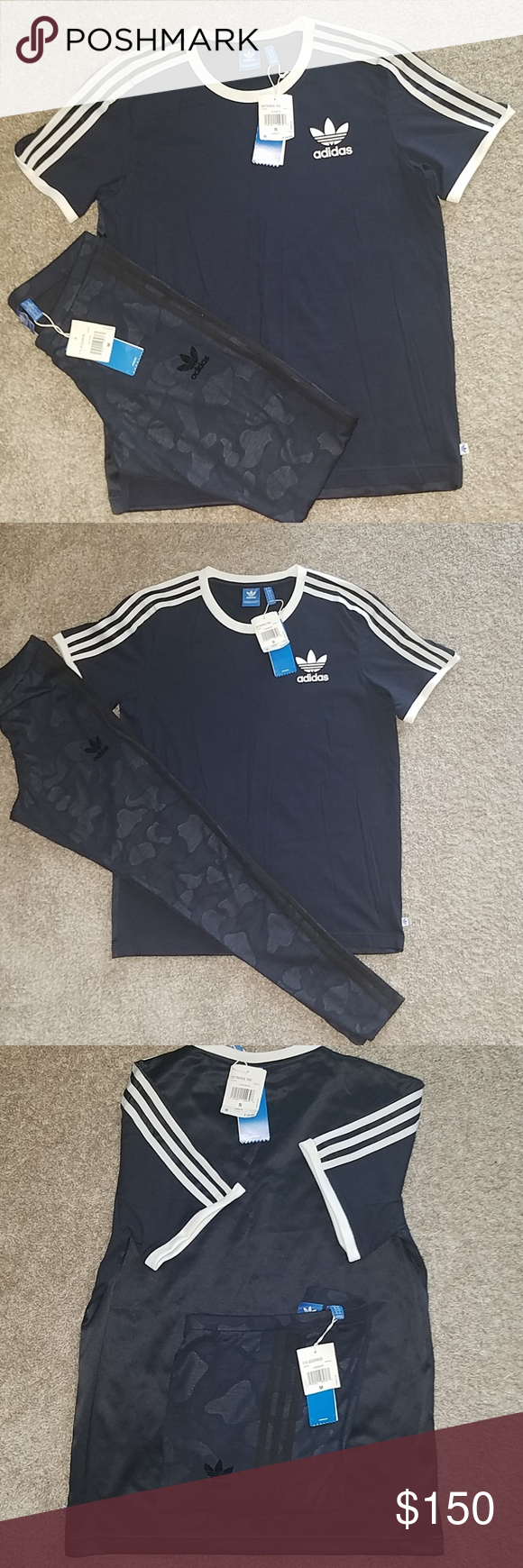 2d797318e3c Set: Adidas Originals:Navy Camo Leggings and Shirt Set: Rare: New Adidas