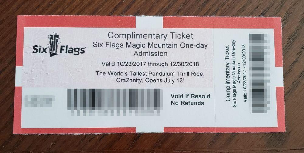 Six Flags Magic Mountain Ticket California Ebay